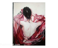 Tablou ulei, lady in red.